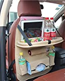 LIYUU PU Leder Auto Rücksitz Organizer Faltbare Auto Esstisch Kinder mit Tablet iPad Kick Matte Schutz Ablage,Beige