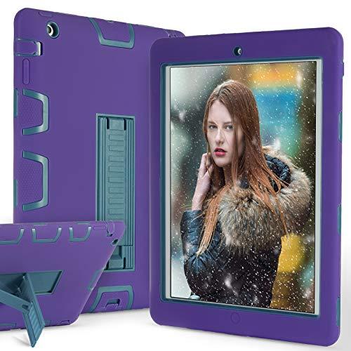 ZERMU Schutzhülle für iPad 2, iPad 3, iPad 4, strapazierfähiger Stand, stoßfest, Hartplastik + Silikon-Schutz, stoßfest, stoßfest, widerstandsfähig, robust, Purple-Teal (Survivor Griffin 4 Ipad Case)