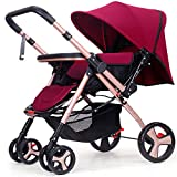 ZWL Baby Cart Light Carrying an Umbrella Baby Winter and Summer Push Can Sit Reclining Fold Child Baby Carriage,Red