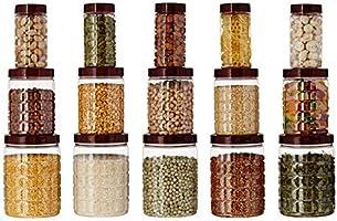 Amazon Brand - Solimo Checkered Airtight Jar Set of 15