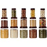 Amazon Brand - Solimo Checkered Airtight Jar Set of 15