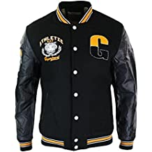 091cac99829a ox king Blouson Homme Style USA Baseball Doublure Molleton Badges et  Manches Cuir PU