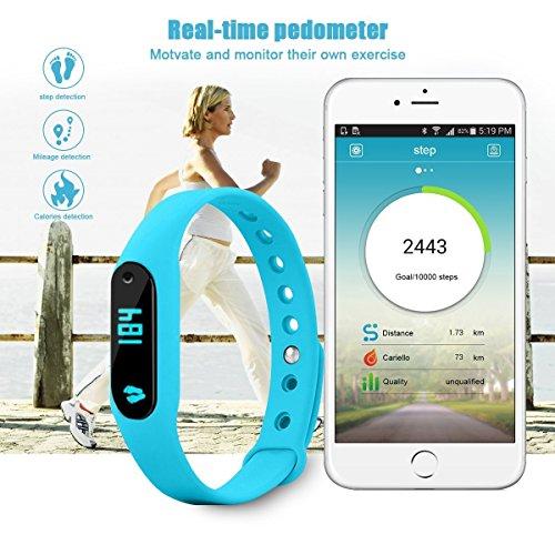 GoldFox® C6 Premium Smart Fitness Bracelet Bluetooth 4.0 Aktivitätstracker Dynamische Herzfrequenz Monitor, Schritt, Distanz, Kalorien, Schlaf-Tracking Wasserdicht mit OLED Display für Samsung iPhone LG Android(4.4 above) und IOS 7 above Smartphone