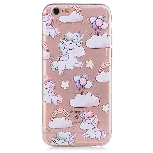 Silikon Hülle für Iphone 6 /iphone 6s  Handyhülle Cover Muster - Das Einhorn Die wolken Der Regenbogen Ballon