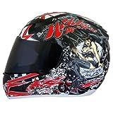 Nikko Casco da Moto Integrale con Visiera, Rosso/Nero, XL