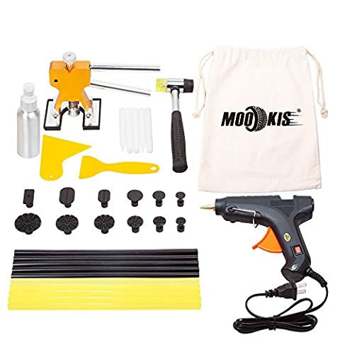 Mookis Car Body Dent Repair Tools, Paintless Dent Repair Kits with Glue Gun, 10 Glue Sticks, 12 Glue Puller , Glue Shovel, Repair Hammer for Auto Dent
