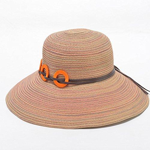 Ombrelloni cappello di paglia donna summer sunscreen stetson windproof outdoor tessitura pieghevole lungo la spiaggia sabbiosa di sun versione hat , corea , codice sono kaki