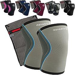 Rehband [1 Paar] 5 mm Neopren Kniebandage - Kniestütze + Ziatec Wäschenetz - CrossFit-Kniebandage - Kniegelenk-Bandage - Kniebandage-Krafttraining, Farbe:camo, Größe:M - 1 Paar