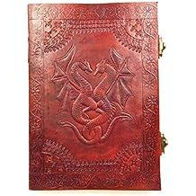 Chic & Zen–Cuaderno, bloc de notas, diario, libro, piel auténtica, Vintage, Double Dragon, 2cierres, 18cm * 25cm, papel Premium