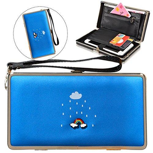 Le donne Cute bowknot borsa solida borsa Portafoglio Wearable, Sunroyal Multifunzionale [Grande capacità] Smartphone Wristlet Custodia Case Cover per Huawei Mate 9 / P10 / P10 Lite / P10 Plus / P9 / P Modello 38