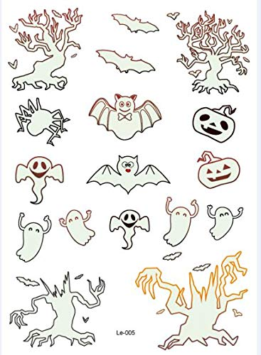 BRT Halloween Light Tattoo-ghost Tatttoo As Child Gefälschte Tattoo-hexe Glüht In Dunklen Wasserdichten Temporären Tattoo-aufkleber Le-005