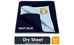 Bey Bee Quick Dry Waterproof Bed Protector - Medium (Dark Blue)