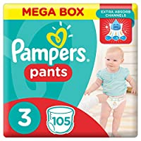 Pampers Pants Diapers, Size 3, Midi, 6-11 kg, 105 Count