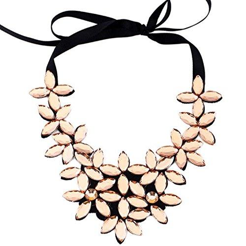 Nuevo diseño de la cadena de la cinta de la flor corto colgante de cristal colgante Collar (Oro)