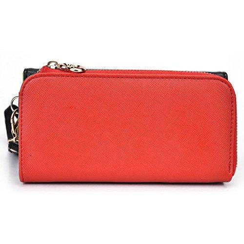 Kroo d'embrayage portefeuille avec dragonne et sangle bandoulière pour Lava Iris Pro 30+/450couleur Multicolore - Green and Pink Multicolore - Noir/rouge