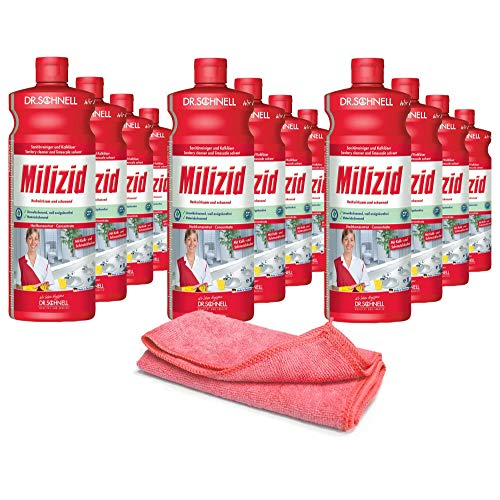 12x 1,0 L Sanitärreiniger - Kalklöser - WC Entkalker - Urinsteinlöser | inkl. hochwertigen Profi-Microfasertuch Rot
