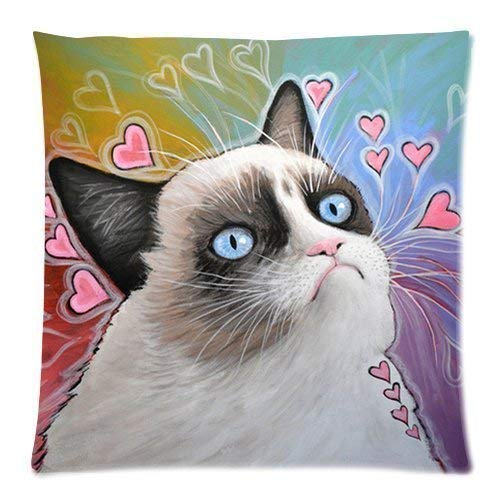 Grumpy Cat, This is My Happy Face Pillow Case 18x18 (Two Sides)