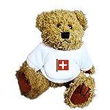 Teddybär mit einem T-Shirt mit der Grafik: Schweizer Flagge