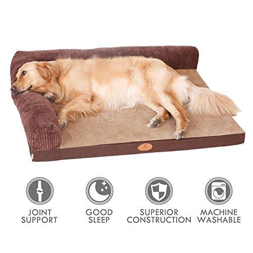 ubest Hundebett, Memory Foam Waschbar Hundelounge, orthopädisch und rutschfest Hundekissen, Tpy 1, Größe L(120*90cm)