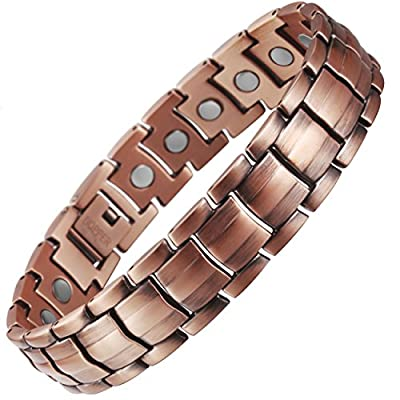 VITEROU Mens Magnetic Pure Copper Bracelet with Magnets Pain Relief for Arthritis,3500 Gauss