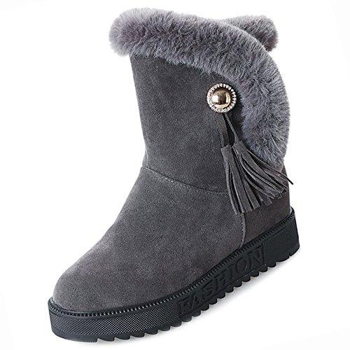 Hsxz Femmes Chaussures Pu Hiver Combat Bottes Bottes Null Bas-talon Bout Rond Mi-mollet Bottes Down Pour Armée Casual Vert Foncé Gris Noir Noir