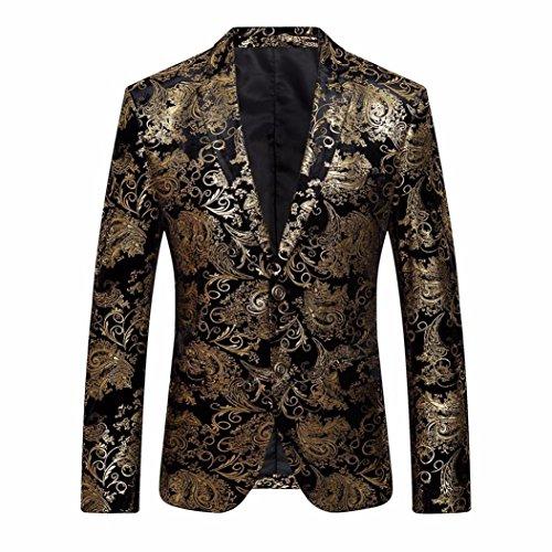 Hansee Herren Blumenkleid Revers Revers Slim Fit Stilvolle Blazer 2 Button Sport Jacke Herren Kleid (L) (Handwäsche, Viskose)