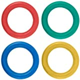 New 360 Tennikoit Ring Traditional Garden Throwing Game Pack Of 4 Colour Quoits