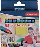 STYLEX 25028 Wachsmalstifte, Wasserfest, 8-er Set