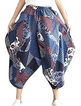 Pantalones De Linterna Mujer Verano Vintage Etnica Impresión Pantalones Aladdin Elegantes Fashion Casual Anchas...