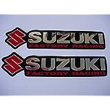 3D red / chrome SUZUKI stickers decals - set of 2 pieces