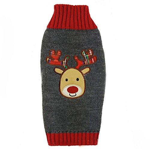 Myyxt Haustier Hunde Sweater Acryl Kleider Halloween Herbst-Winter-Kollektion,Grau , (Haustiere Kostüme Tragen Halloween)