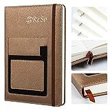 RESO Executive Notizbuch | Notizblock | Notizheft | Journal liniert aus PU-Leder A5 Hardcover Notebook mit Tasche, Pen-Schleife, 100 g/m², 100 Blatt | 200 Seiten-Braun