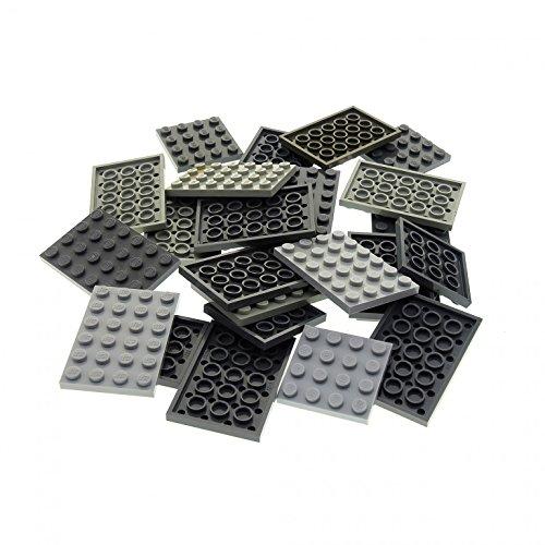 25 x Lego System City Platten Basic Bau Platte Farbe hell dunkel grau z.B. 4x4 4x6 Grösse klein gemischt für Star Wars Castle Lego Graue Bau Platte