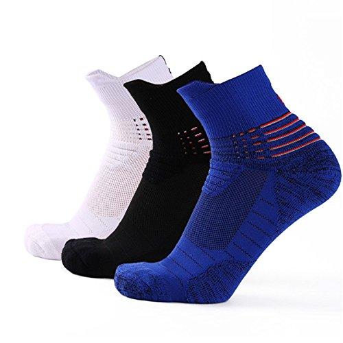 ANDMOVE 3 Paar Herren Sport Sneaker Socken für Sport Laufen/Basketball/Running -Größe (5.5-11 UK/38-46 EU) -stoßabfedernd schützend