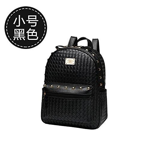 LiZhen Double-borse tracolla femmina pu coreano custodia in pelle confezione nuova marea individuale alla moda casual selvatici semplicità, nello zaino nero (piccolo) Nero (piccolo)