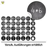 cute-head 24 Adventskalender-Zahlen + 11 Motive (Aufkleber Etiketten Sticker) | Kreidetafel (simuliert) | Mathe/Rechenaufgaben | Rund | S » Ø 24 mm | Schwarz | FA0078-02