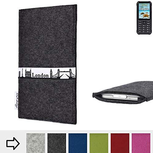 flat.design für Energizer H20 Schutztasche Handy Hülle Skyline mit Webband London - Maßanfertigung der Schutzhülle Handy Tasche aus 100% Wollfilz (anthrazit) für Energizer H20
