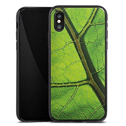 Apple iPhone X Silikon Hülle Case Schutzhülle Blatt Struktur Grün Silikon Case schwarz