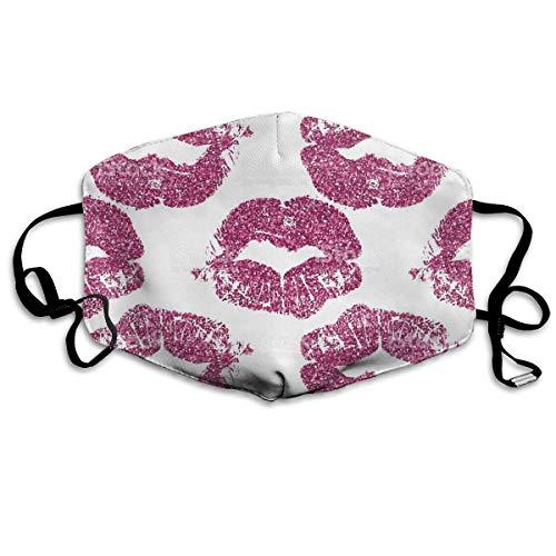 Nicegift Wiederverwendbare Gesichtsmaske - Breath Healthy Reirator, rosa Lippen Print Ohrschlaufe Maske -