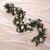 Carremark Fleur Artificielle Vigne Rose 11 Guirlande Naturelle de Fleurs pour Le Jardin de Mariage