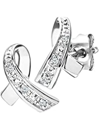 Naava Women's 9 ct White Gold Diamond Kiss Earrings