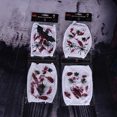 Maus Kostüm Gesicht - Yammucha Halloween Mund Masken 4 Paket Anti-Staub Fledermaus, Spinne, Kakerlake, Maus Schutz Staub Mund Gesicht Masken für Halloween Kostüm Party (12 * 17 cm) (Color : White)