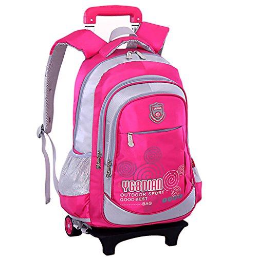 GudeHome Zaino Trolley borsa di scuola con ruote zaino di scuola con ruote per viaggio scuola bambini rosé