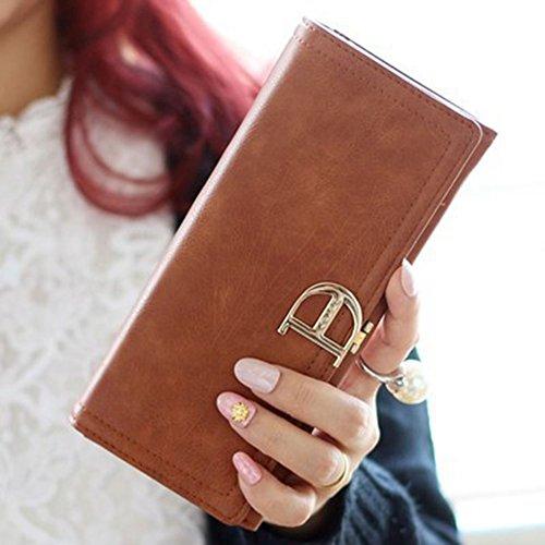 Donna grande capacità PU pelle Portafoglio con tasca con Fibbia con Cerniera Frizione Portafoglio Borsetta Caffè Caffè