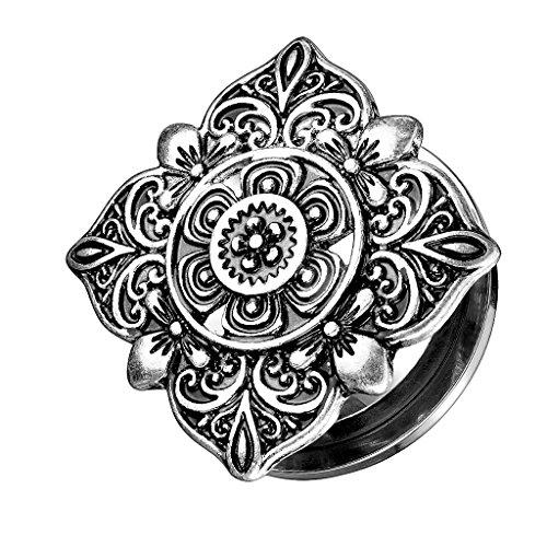 Piersando Ohr Plug Schraub Piercing Ear Flesh Tunnel Ohrpiercing Ohrplug Edelstahl Vintage Tribal Ethno Silber Quadratisch mit Blumen 6mm