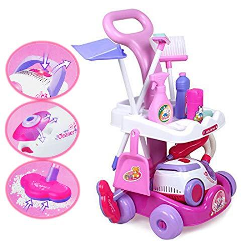 deAO Toys Spielzeug Reinigungswagen mit viel Zubehör an Spielzeug Reinigungsartikeln, sowie Licht- und Soundeffekte