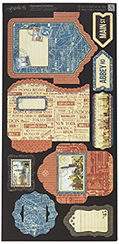 Graphic 45 Cityscape Cardstock Die-Cuts 6-inch x 12-inch Sheets -Tags and Pockets,