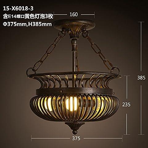 Zqww Ceiling lamp Villaggio americano personalità gabbia lampade halfCeiling retrò Soggiorno Ristorante Art lampade in ferro ,15-X6018-3