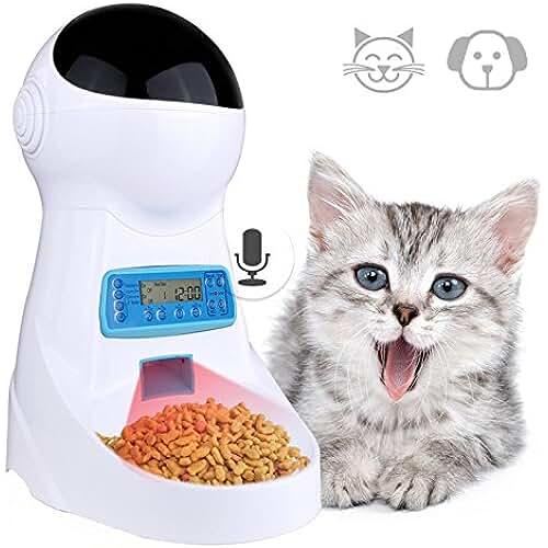regalos tus mascotas mas kawaii Comedero Automatico Gatos Iseebiz Comedero para Perro Electrónico con Recordatorio por Voz y Temporizador