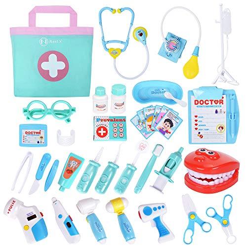 NextX Arzt Medizinisches Spielzeug Kinder 35 Teile Arztkoffer Doktor Spielset Rollenspiel Geschenke für Mädchen und Jungen (Medizinische Spiele)